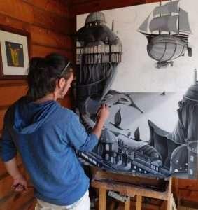 GAST modern sub-realist David Serrano at work on a oil painting